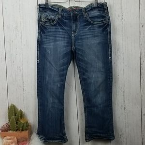 Cowgirl Tuff co. Hemmed to capri jeans size 30